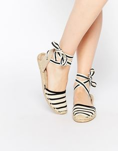 Image 1 ofSoludos Classic Stripe Natural Tie Up Espadrille Flat Sandals