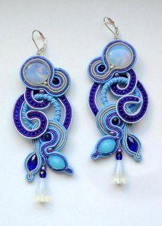 Earrings Waterfalls Blue and royal blue Long soutache by FEYAshop