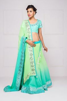 HOUSE OF OMBRE ombre dye mirror work lehenga set #flyrobe #wedding #weddingoutfit #designeroutfit #designerwear #bride #indianwedding