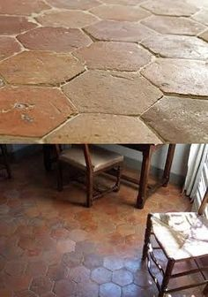 Antique Hexagonal Terracotta Tiles supplied at best prices. Terracotta discount stone floors from London Ceramics - the Natural stone flooring specialist with over 10 years experience supplying premium quality stone floor tiles to happy clients. Terrazzo Flooring, Brick Flooring, Outdoor Flooring, Patio Tiles, Kitchen Wall Tiles, Kitchen Flooring, Brick Wall Gardens, Hall Tiles, Paving Design