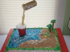 Beer can,Red Solo Cup Birthday Cake