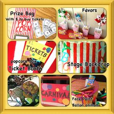 Preschool end of the year carnival party *carnival prize bags with play money *ticket booth *photo back drop *carnival party favors