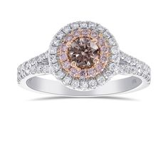 An amazing Argyle Fancy Brownish Pink Round Diamond Double Halo Ring, SKU 429322 TW) and other loose diamonds, engagement rings and diamond jewelry by Leibish & Co. Jewelry Shop, Jewelry Rings, Jewellery, Double Halo Rings, Diamond Shop, Gemstone Engagement Rings, Round Diamonds, Diamond Jewelry, Wedding Rings