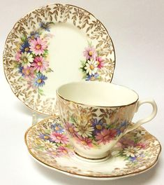 Vintage China Tea cup Saucer Bread Butter Plate Tea Party fine