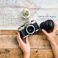 This is one of my favorite photos! Between the rustic wood, the vintage map, the film camera, and that super cute @shopoakandoats planter, it just speaks right to my heart. ⠀ ⠀ I've been thinking about doing a styled stock collection inspired by this photo. Would you love to see photos like this in the shop? Are you a fan of rustic wood? I would love to hear from you! ⠀ ⠀