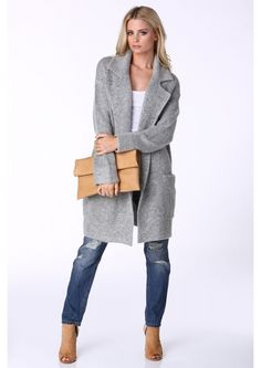 Ashley Oversized Sweater Jacket in Heather grey Girl Fashion, Fashion Outfits, Womens Fashion, The Cardigans, Sweater Jacket, Timeless Fashion, Passion For Fashion, Autumn Winter Fashion, What To Wear