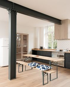 The urban rustic design of our Sebastian Cox Kitchen works so perfectly in this cool open plan London apartment Devol Kitchens, Home Kitchens, Kitchen Words, Open Plan Kitchen Living Room, House Extension Design, Steel Beams, Room Inspiration, Kitchen Design, Kitchen Ideas