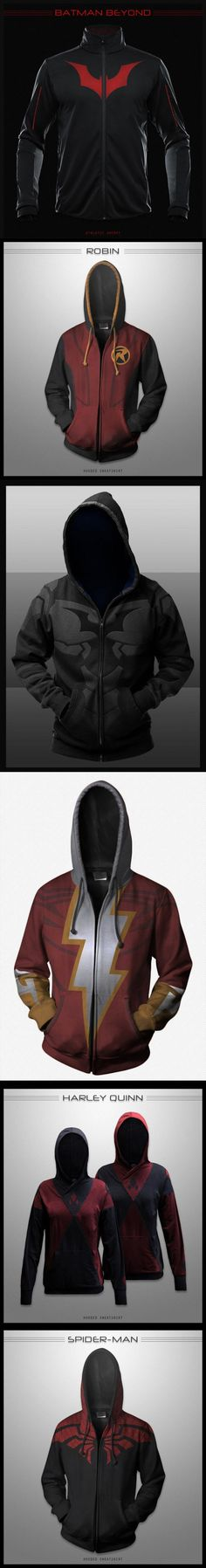 Amazing Concept Hoodies - Batman Beyond, Spiderman, Robin, Flash. I want the batman beyond one Moda Geek, Estilo Geek, Mode Steampunk, Style Masculin, Look Man, Cool Hoodies, Funny Hoodies, Sweatshirts, Geek Fashion