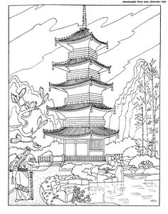 Buddhist Pagoda In Japan coloring page for kids and adults from Architectures coloring pages, Sightseeing coloring pages Japanese Temple Tattoo, Japanese Tattoo Art, Japanese Art, Coloring Pages For Boys, Free Printable Coloring Pages, Free Coloring Pages, Japan Architecture, Chinese Architecture, Buddhist Pagoda