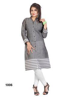 Grey Colour Long Sleeve Simple Cotton #Kurti  #craftshopsindia