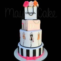 Fashionista Cake- Tap the link now to see our super collection of accessories made just for you! Elegant Birthday Cakes, 17 Birthday Cake, Adult Birthday Cakes, Beautiful Birthday Cakes, Beautiful Cakes, Amazing Cakes, Bolo Chanel, Chanel Cake, Chanel Party