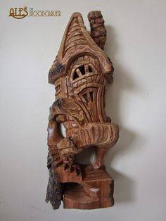 A smaller whimsical house done in cottonwood bark. It is tall and is simply called & Nice View& Wood Carving Designs, Wood Carving Art, Stone Carving, Wood Carvings, Dremel Projects, Wood Projects, Dad Crafts, Wood Bark, Fairy Houses