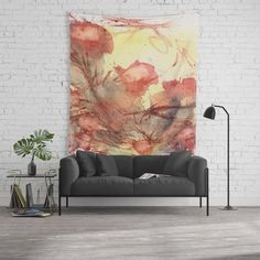 Bright sunny yellow with burnt orange / pale poppy red Printed tapestry done with watercolor design featuring generous gestures