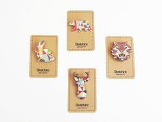 Enamel Geometric Animal Brooches by SketchInc, £9.00 or $15.68.  Amazing details, I love it.