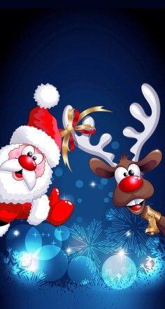 Cartoon Santa Claus and Deer