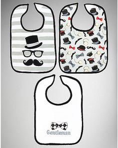 Gotta match daddy's 'stache! ~ Mustache Bib Set - Spencer's