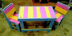 Now craft these awesome-looking wooden pallets kid's table and chairs. The beautiful color combination of pink and yellow as well as the sky-blue base seems wonderful as shown in the picture given below. This craft is not only good for kid's seating purpose but also best to use as a kid's studying furniture.