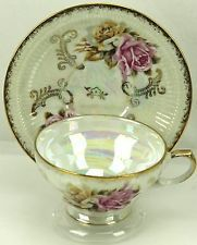 Vtg Pink Yellow Rose Lustre Gold Embossed Footed Double Rest Teacup & Saucer