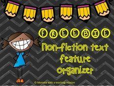 Non-fiction text feature organizer Social Studies 2nd Grade Ela, Third Grade Reading, Student Reading, Guided Reading, Second Grade, Nonfiction Text Features, National Symbols, Classroom Activities, Classroom Ideas