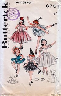 Butterick 6757; circa 1960; Girls' Ballerina, Fairy, May Queen and Pierrette costumes. Dreamy costumes with stand-out skirt and fitted trunks. (A) Ballerina dress; detachable sleeves. (B) Fairy Queen or Angel, real wings. (C) May Queen's costume adorned with daisies. (D) Short ballet dress. (E) Pierrette wears ruff, hat. Butterick Catalog 1960 cemetarian on Flickr
