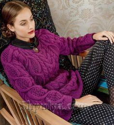 Пуловер реглан с ажурными косами спицами
