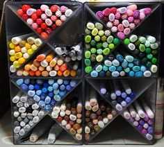 Confessions of a Ribbon Addict: Copic Markers: Organization, Storage, and Tips! Love this idea.