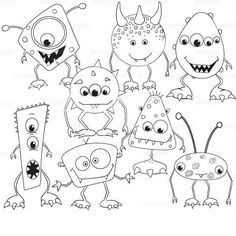 Monster stamps for fun crafts, coloring pages and more. Monster Coloring Pages, Colouring Pages, Coloring Books, Doodle Monster, Monster Party, Coloring For Kids, Doodle Art, Art Lessons, Fun Crafts