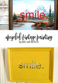 Turn old thrift store art into an upcycled vintage painting that& add a whimsical touch to your home! Diy Upcycled Art, Upcycled Vintage, Repurposed, Thrift Store Art, Thrift Store Outfits, Thrift Stores, Dollar Store Crafts, Dollar Stores, Upcycled Furniture Before And After
