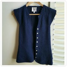 """Mayle Open Knit Cap Sleeve Cardigan Luxurious dark blue open knit cardigan with cap sleeves. Made from a blend of 80% extra fine merino wool 27% angora 13% nylon. Bust 12 1/2"""" Length Approximately 22 1/2"""" In excellent pre-loved condition. Mayle Sweaters Cardigans"""