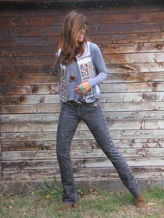 Grey, ethnic patterns & statement jewellery - yeah! - on stylelovely.com
