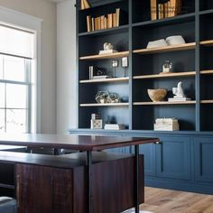 Leading home decor under easy diy Tv Shelving Unit, Mdf Shelving, Built In Bookcase, Bookshelves, Wide Bookcase, Bookshelf Ideas, Home Office Cabinets, White Shelves, Home Office Design