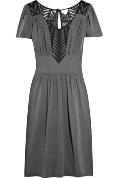 TEMPERLEY LONDON Camilla silk-crepe dress. Charcoal silk-crepe dress with black silk and sheer chiffon zigzag inserts at front and back $950