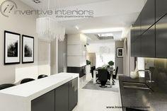 Projekt kuchni Inventive Interiors - ciemne szare szafki w połączeniu z grubym białym blatem