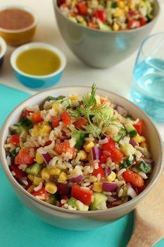 Zöldséges rizssaláta Healthy Foods To Eat, Healthy Snacks, Healthy Eating, Vegetarian Recipes, Cooking Recipes, Healthy Recipes, Ayurveda, Good Food, Yummy Food