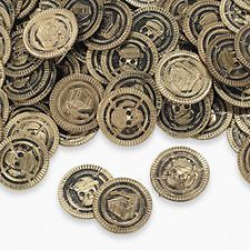 Gold Plastic Coins Pirate Play Money FREE SHIPPING Low as 7 cents ea. T2-424011