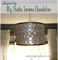 Build your own drum shade. Pig and Paint: How to Make a DIY Designer Capiz Drum Shade Chandelier {a la Oly Studio Serena} Capiz Shell Chandelier, Drum Shade Chandelier, How To Make A Chandelier, Diy Drum Shade, Diy Drums, Oly Studio, How To Make Diy, My New Room, Decoration