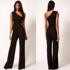 Women Jumpsuit Rompers Macacao Feminino One Shoulder Sleeveless Slim Black Sexy Jumpsuits Long Bellbottoms Bodysuit Rompers Women, Jumpsuits For Women, One Shoulder Jumpsuit, Long Jumpsuits, Jumpsuits 2017, Fashion Jumpsuits, Black Jumpsuit, Elegant Jumpsuit, Pant Jumpsuit