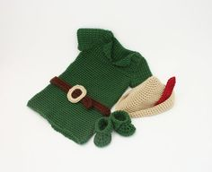"""PATTERNBaby Boy Crochet OutfitBaby Robin Hood by KnitsyCrochet, $5.50 USE COUPON CODE: """"PINNER10"""" FOR 10%off!"""