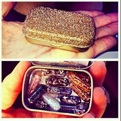 Spray paint an Altoids container, Podge lid, cover in glitter, spray a few coats of clear gloss spray paint over glitter so it won't flake off and fill up pill capsules (look for at local health/nutrition store) with glitter.  ~~~  A fun gift. Having a bad day? Just toss some glitter at it. ;)  (especially if the problem is a person. Aim for the eyes!)