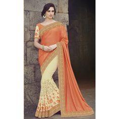 Wedding Wear Georgette Yellow & Orange Saree - 2412
