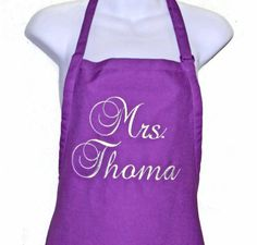 Embroidered Mrs Custom Bride Apron by A Gift To Treasure