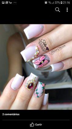 Flor Vintage, Nails, Beauty, Flower Nails, Finger Nails, Ongles, Beauty Illustration, Nail, Nail Manicure