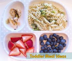 baked herb salmon | buttered curly pasta w roasted broccoli | strawberries | blueberries