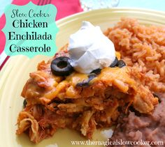 This recipe for slow cooker chicken enchilada casserole is a one pot meal. To make this recipe, you cook your chicken all day in your slow cooker