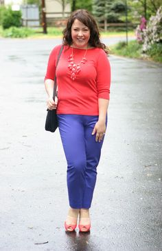 Colorblocking with coral and purple