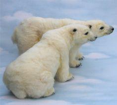*NEEDLE FELTED ART ~ 2013 TOBY Award Alpaca Needle Felted Artic Polar Bear OOAK Artist Bear Choice of sit or stand