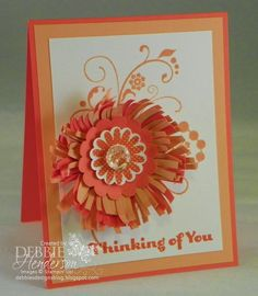 Stampin' Up! Flowering Flourishes and a flower made with the Fringe Scissors by Debbie Henderson, Debbie's Designs.