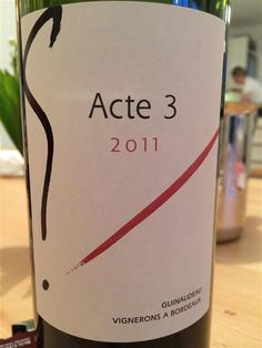"""2012 Guinaudeau """"G"""" Acte 4  Nice purple red on the eye. Nose took 3 hours to arrive with wafts of chocolate, espresso and cherries. Very pleasant. A medium body with liquorice, ripe-fruits, cherries and chocolate. Medium long finish. A very good wine that paired well with a selection of semi-soft cheeses from France. Nice! Outstanding QPR. (89 points)"""