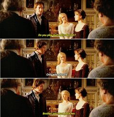 Georgiana Darcy (Tamzin Merchant): (to Elizabeth on playing the piano) Do you play duets Miss Bennet? Elizabeth Bennet (Keira Knightley): Only when forced. Georgiana Darcy: (to Darcy) Brother, you must force her... - Pride & Prejudice (2005) #janeausten #joewright