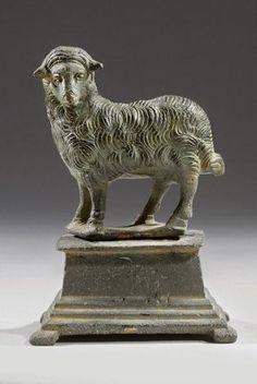 Byzantine Statuette of a Sheep Standing on an Altar | 3rd Century AD | Price $7,500.00 | Byzantine, Roman | Bronze | Animals, Sculpture | eTiquities by Phoenix Ancient Art